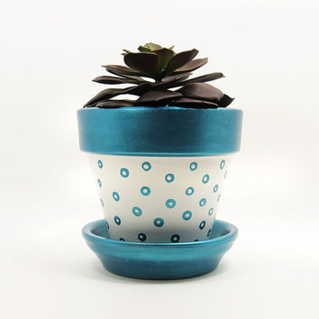 Terracotta Pot, Succulent Planter, Turquoise Planter, Succulent Pot, Flower Pot, Modern Planter, Indoor Planter, Blue Planter, Polka Dot