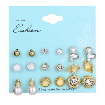 MINHIN Luxury Gold Earrings Set Fashion New Design Simulated Pearl Beads Stud Earrings Engagement Jewelry Gift 9 Pairs