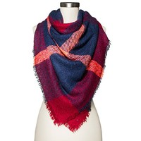 Mossimo Cold Weather Plaid Scarf Black - Purple