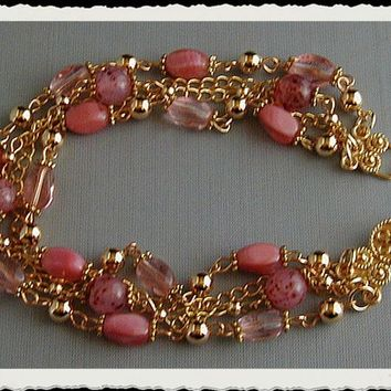 Shades of Pink Czech Glass and Gold Plated Link Bracelet~Three Strand Bracelet~Chain Bracelet~Beaded Bracelet~Pink Bracelet~Twisted Bracelet
