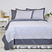 Bordered Bedding Set Full Queen King - Two Tone Charcoal Smoky Gray & Light Grey Cotton Border Duvet Cover, Flange Pillowcases and Sheet Set