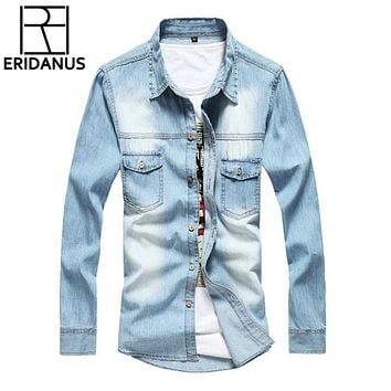 New Jeans Shirt Long Sleeve Solid Casual Slim Fit Washed Denim Man Shirts Social Cotton Cowboy Clothes