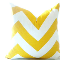 Wide chevron pillow cover - Yellow and white chevron pillow cover 18 inch