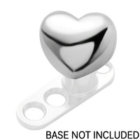 Surgical Steel Heart Dermal Anchor Top | Body Candy Body Jewelry