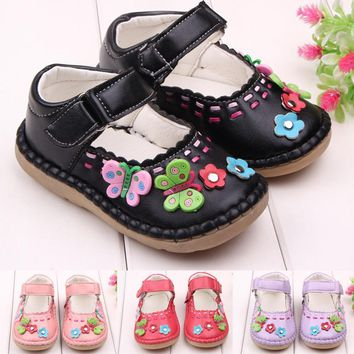 Baby's Toddler Newborn Girls Antiskid PU Leather Flowers Adorable Sneakers Prewalkers Flats Crib Shoes
