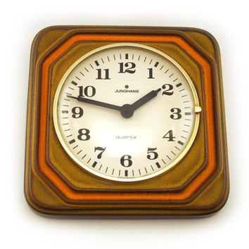 Retro warm brown / orange earthenware / ceramic wall clock. Junghans, Quartz, Germany
