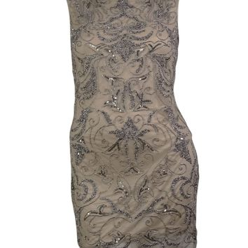 Adrianna Papell Women's Beaded Mesh Scoop Back Dress