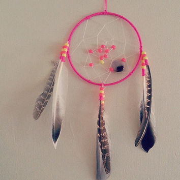 "7"" Dream Catcher, Neon Pink with Pink Gem, Gift for Mom, Gift for her, gift for baby, bohemian, bedroom decor ideas, Home and Living, Boho"