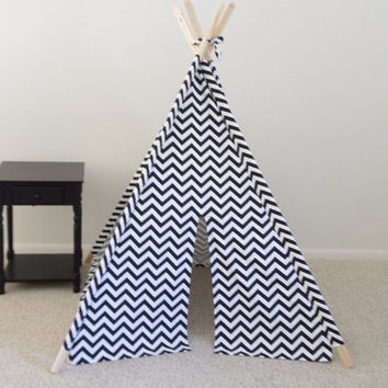 Black and White Chevron Teepee, Red and White or Pick your fabric color Chevron Tent, Kids tent Made to Order