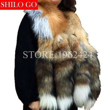 DCCKJG2 Free shipping 2017 winter new fashion women high quality luxury whole skin red fox four tail gold fox fur collar scarf