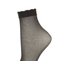 Sheer Trim Ankle Socks - Black