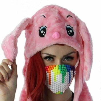 Rainbow Paintball Drip White Kandi Mask