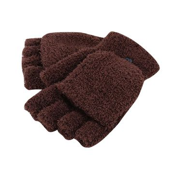 WENDYWU Winter Men Women Fingerless Glove Winter Warm Half Finger Flip Knitted Mitten Gloves