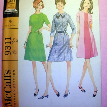 Vintage 60's Retro Dress with 3 Variations Women's Half Size 10 1/2 Bust 33 McCall's 9311 Sewing Pattern Uncut