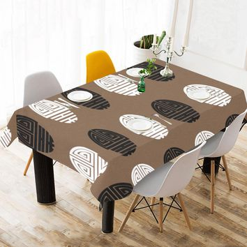 "Cotton Linen Tablecloth 60""x120"" Chinese Seal Black/White/Brown"