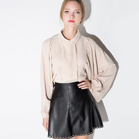 Light Pink Lapel Collar Long Sleeve Blouse