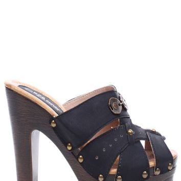 BLACK FAUX LEATHER STRAPPY PEEP TOE STUD PLATFORM CLOG MULE HEELS