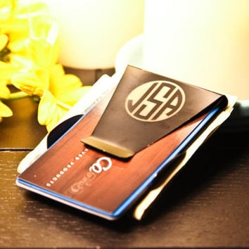 Personalized Black Stainless Steel Custom Engraved Initials Money Clip Wallet ~ Gift For Him, Fathers Day, Dad, Wedding, Anniversary, Bday