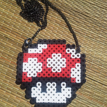 Mario Mushroom Necklace - 3 by 3 Perler Charm Necklace Geekery Jewelry nintendo characters