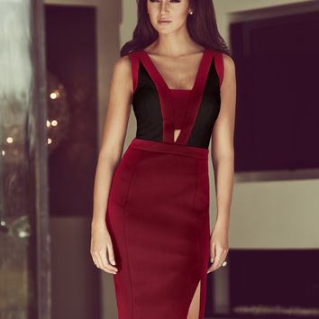 Wine Red Sleeveless Pencil Midi Dress