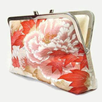 "Silk Wedding Clutch Purse With Cherry Blossom, Maple Leaves, Chrysanthemums And  A Tiny Bird Design, Made From Japanese Silk 9"" x 5.5"""