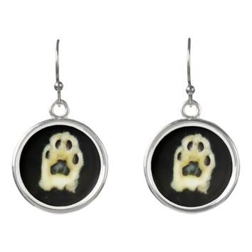 Cute Black and White Cat Paw Earrings