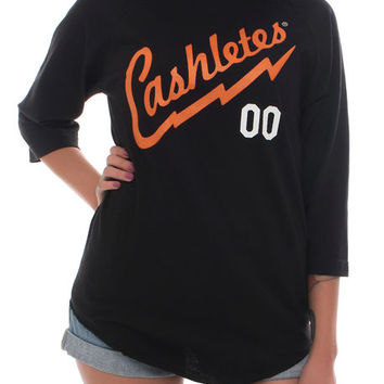 The Bolt Jerz Raglan in Black/Orange