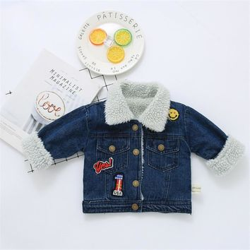 Warm Autumn Winter Children Outwear Coat Baby Boy Girls Letters Denim Jackets Coats New Kids Lamb Wool Denim Jacket Outwear A741