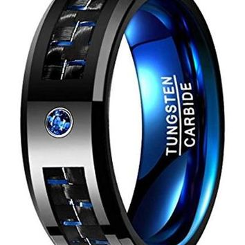 CERTIFIED 8mm Blue Black Carbon Fiber Tungsten Carbide Ring Wedding Band