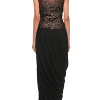 Black jumpsuit adorn in cut work lace and cowl drape only on Kalki