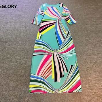 New Designer Long Dress 2017 Summer High Quality Jersey Women Rainbow Color Geometric Prints 3/4 Sleeve Plus Size Dress Long XXL