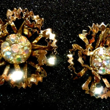 Sarah Coventry Signed Sparkling Aurora Borealis in Pierced Gold tone Floral Earrings