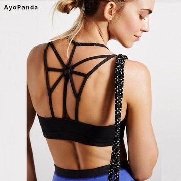 DCCKM83 AyoPanda 2016 New Womens Sports Bra Options Padded Running Fitness Bra Push Up Sport Underwear For Ladies Strappy Back Yoga Top