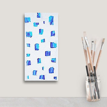 MARKS OF BLUE original abstract modern painting - gallery fine art - contemporary interior design - ooak home wall decor