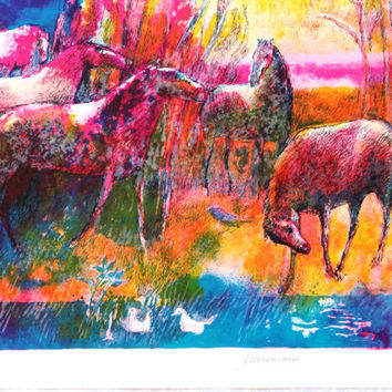 Horses at Lake, horsemen, riding, equestrian, original lithograph, french painter, figurative, poetic, expressionism, Paul Guiramand,