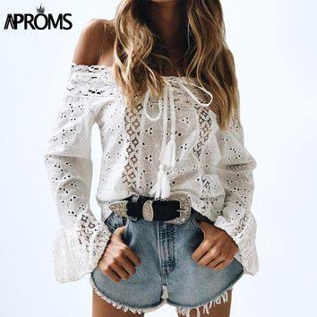 Aproms White Lace Crochet Blouse Shirt Women's Flare Sleeve Hollow Out Sheer Cotton Shirt 90s Cool Girls Casual Tunic Top Blusa