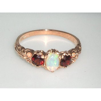 English 9K 9ct Rose Gold Natural Genuine Fiery Opal & Garnet Ring, English Vintage Style 3 Stone Ring, Anniversary Band Ring - Customizable