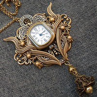 Steampunk watch necklace or brooch by Aranwen on Etsy