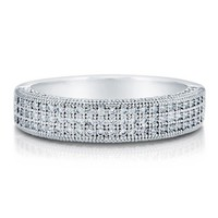 Cubic Zirconia 925 Sterling Silver Micro Pave 3-Row Half Eternity Ring #r652