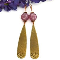 Pink Lotus Yoga Earrings, Brass Teardrops Lampwork Crystals Handmade Meditation Jewelry