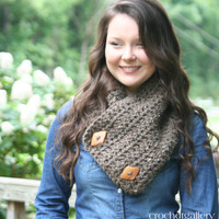 Neck Warmer With Buttons Crochet Scarf With Buttons Women's Scarf - Oatmeal