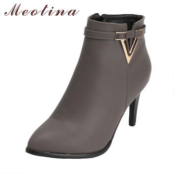 Meotina Boots Women Ankle Boots High Heels Winter Boots Gray Pointed Toe Zipper Stiletto Short Shoes Winter 2018 Size 34-43