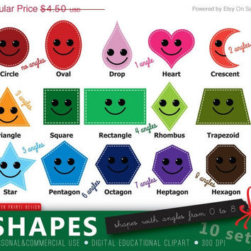 SALE - Educational Clipart, Shapes Clipart, Funny Shapes, Teacher Clipart, Kindergarten Clipart, School Clipart, Shapes Silhouettes, Home S