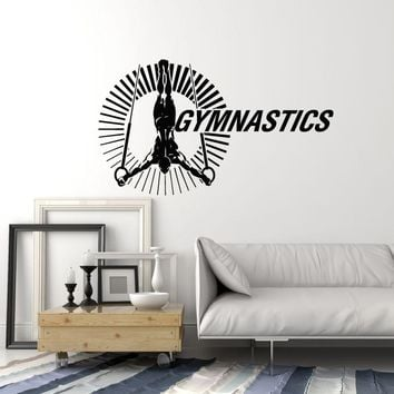 Vinyl Wall Decal Gymnast Athlete Gymnastics Rings Sports Decor Stickers Mural (ig5358)