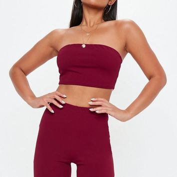 Missguided - Burgundy Cycling Short Co Ord