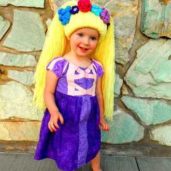 Rapunzel Wig- Blonde Princess Hair- Handmade Wig with Crystals Flower Tiara-Halloween Costume
