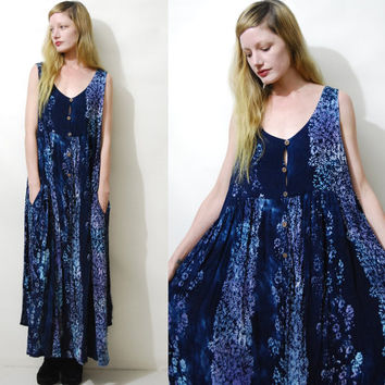 Babydoll Dress 90s Vintage Gypsy Dress Bohemian Dress Gauze Batik Dress Long Hippie Dress Blue Grunge Boho Bohemian Dress 1990s vtg L XL