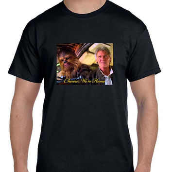 Star Wars The Force Awakens Chewie Were Home Han Solo Cover  Mens T Shirt