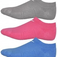 Nike Women's Cushion No Show Sock 3-Pack Gy/Pk/Bl