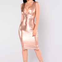 Remi Metallic Dress - Rose Gold